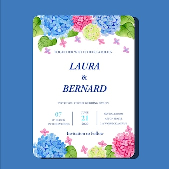 Watercolor hydrangeas hortensia flower invitation card classic template