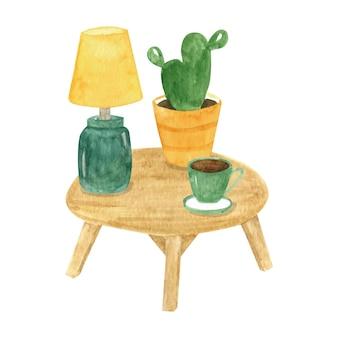 サボテン、ランプ、コーヒーカップと水彩のヒュッゲクリップアートテーブル。家の装飾と居心地の良いインテリア
