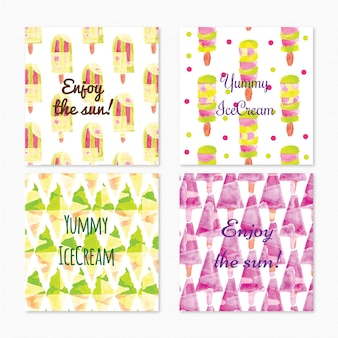 Watercolor ice cream cards