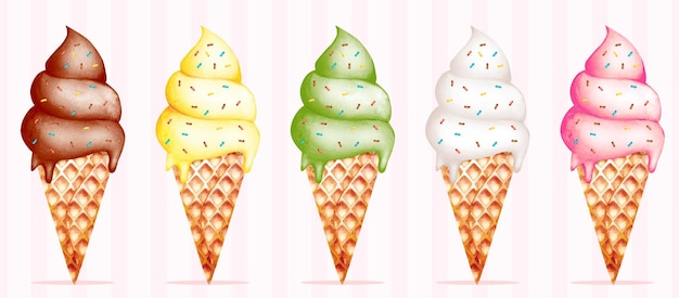 Набор акварельных рожков мороженого