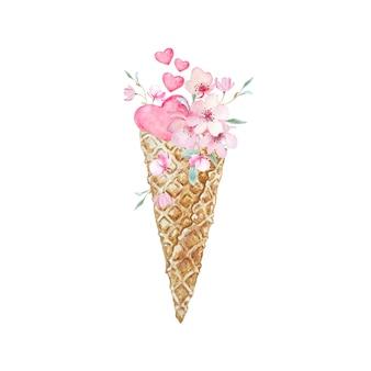 섬세한 봄 사쿠라 꽃과 핑크 하트와 수채화 아이스크림 콘.