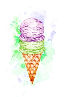 Рожок мороженого акварель