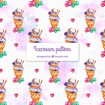 Watercolor ice cream cones pattern background