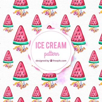 수박 패턴 배경의 수채화 아이스크림