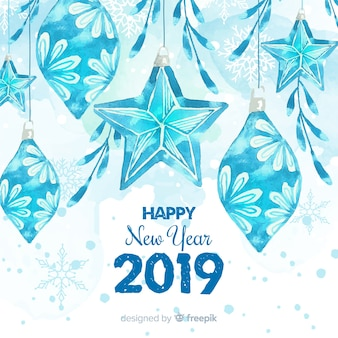Watercolor ice decoration new year background