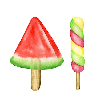 Watercolor ice lollys colored set. bright color fruity collection of frozen popsicles. watermelone, kiwi, cherry, banana. summer concept. ice cream isolated illustration on white background.