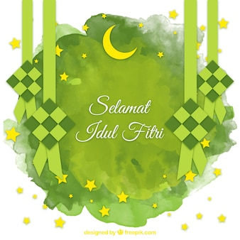 Watercolor idul fitri background