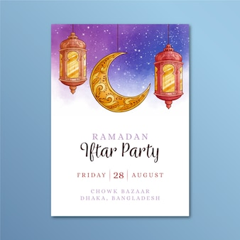 Watercolor iftar invitation template theme
