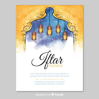 Watercolor iftar invitation template