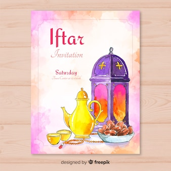 Watercolor iftar invitation