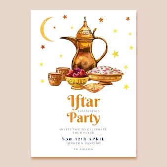 Watercolor iftar poster template