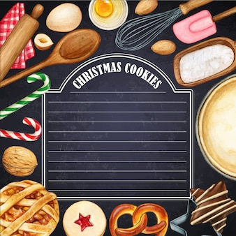Watercolor illustrated blackboard with christmas cookies and kitchen tools