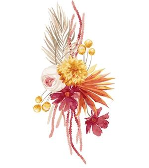 水彩イラスト、秋の花束、バーガンディのヤシの葉、蘭、プロテア、黄色のアスター、アンスリウムとボヘミアンスタイルの構成