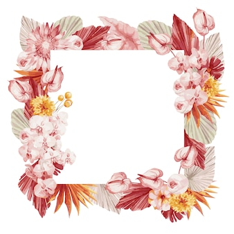 Watercolor illustration,   autumn frame in bohemian style with burgundy palm leaves, orchid, protea, yellow aster and anthurium