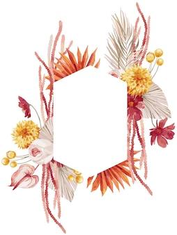 水彩イラスト、バーガンディのヤシの葉、蘭、プロテア、黄色のアスター、アンスリウムとボヘミアンスタイルの秋のフレーム