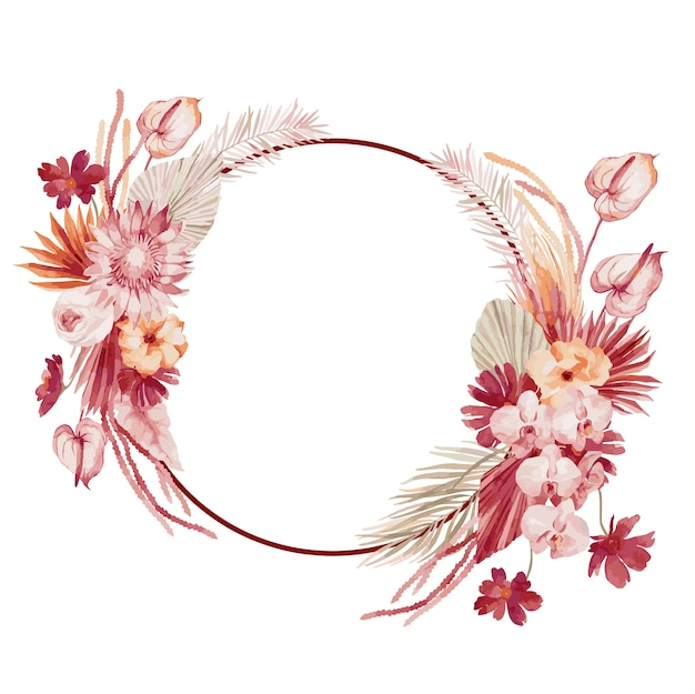 水彩イラスト、バーガンディのヤシの葉、蘭、プロテア、黄色いアスター、アンスリウムとボヘミアンスタイルの秋の花輪