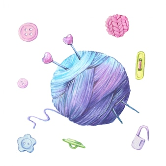 Watercolor illustration of a ball of yarn for knitting and accessories for needlework. vector