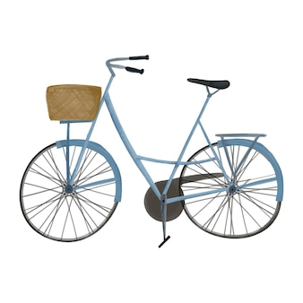 Watercolor illustration of bicycle with basket cute style