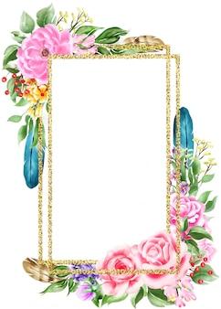 Watercolor illustration boho floral frame border