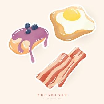Watercolor illustration breakfast set bacon bread fried egg pancake digital paint