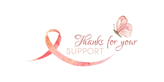 Watercolor illustration of cancer supporting breast cancer awareness month thanks for your support