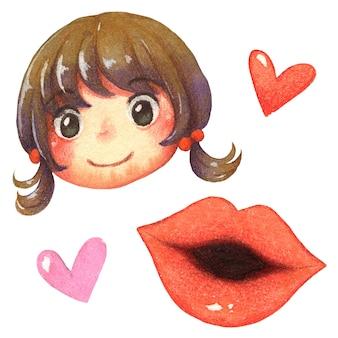 Акварельные иллюстрации мультфильм лицо улыбка девушка, красные губы и сердце