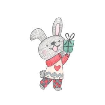Watercolor illustration christmas character bunny in cozy pajamas with gift in hand