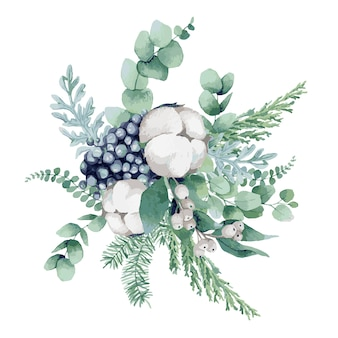 Акварельная иллюстрация, новогодняя композиция с елью, сосной, ветками эвкалипта, ягодами, хлопком, рождественскими имбирными пряниками и сочными