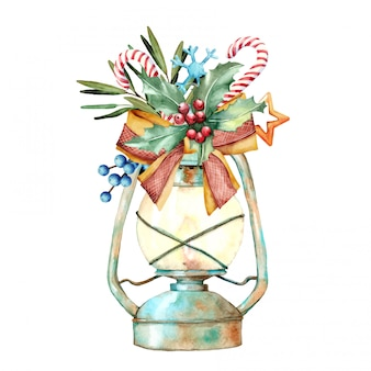 Watercolor illustration of christmas decorated lamp
