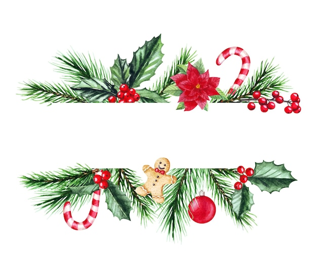 Watercolor illustration of christmas frame with fir branches. merry christmas and happy new year.