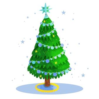 Watercolor illustration christmas tree