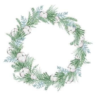 Акварельные иллюстрации, рождественский венок