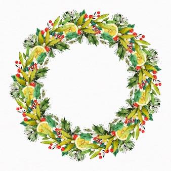Watercolor illustration christmas wreath