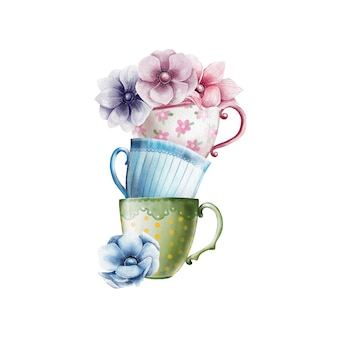 Watercolor illustration of colorful teacups with anemone flowers