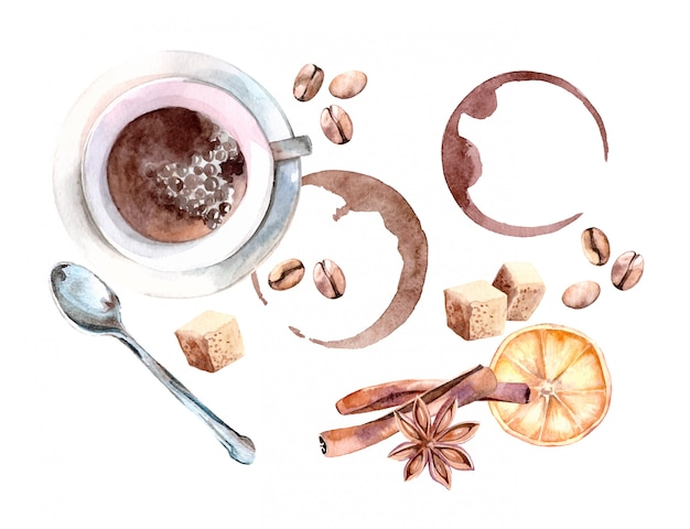 Watercolor illustration of cozy coffee set with cup, spoon and coffee beans
