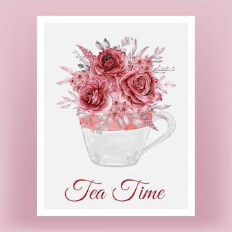 花の花束と水彩イラストカップ