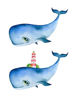 Watercolor illustration of a cute cartoon blue whale with big eyes and a lighthouse on his back