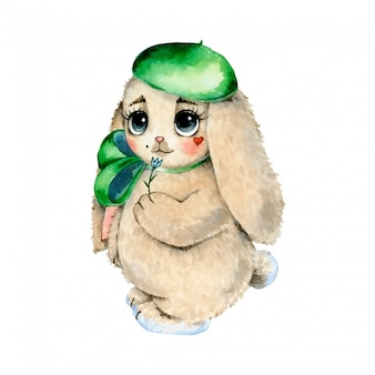Watercolor illustration of a cute cartoon bunny isolated  . french bunny in a beret.