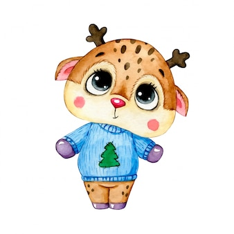 Watercolor illustration of a cute cartoon christmas deer in a blue christmas sweater isolated  .
