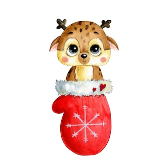 Watercolor illustration of a cute cartoon christmas deer in a red mitten with snowflake isolated  .