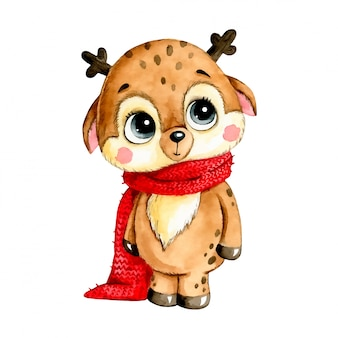Watercolor illustration of a cute cartoon christmas deer in a red scarf isolated  .