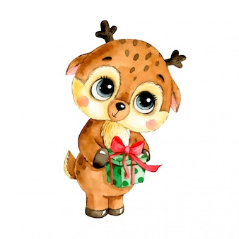 Watercolor illustration of a cute cartoon christmas deer with gift isolated  .