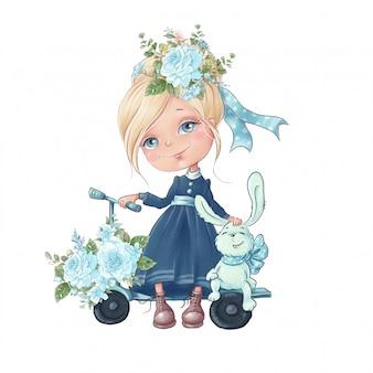 Акварельные иллюстрации симпатичные карикатуры девушка с нежными цветами роз