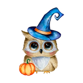 Watercolor illustration of a cute cartoon halloween owl in a magic hat with a pumpkin isolated