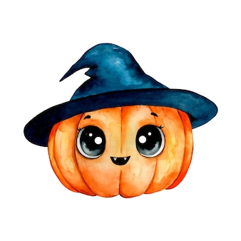 Watercolor illustration of a cute cartoon halloween pumpkin in a wizard hat isolated