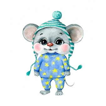 Watercolor illustration of a cute cartoon mouse boy in blue pajamas with yellow stars and a hat