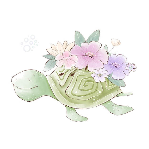 Watercolor illustration of a cute cartoon sea turtle with delicate flowers