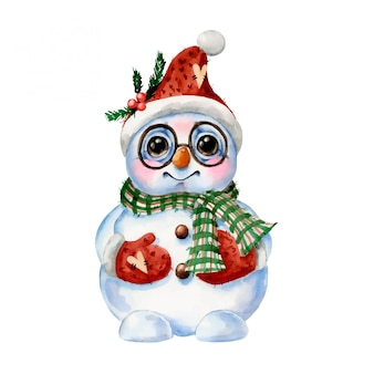 Watercolor illustration of a cute cartoon snowman in a scarf, hat and glasses isolated