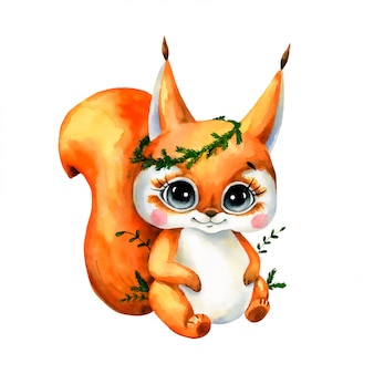 Watercolor illustration of a cute cartoon squirrel isolated