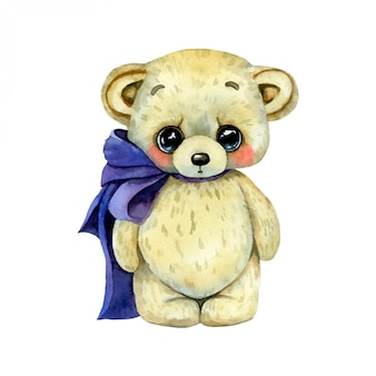Watercolor illustration of a cute cartoon teddy bear toy with bow isolated